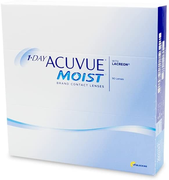 1-Day Acuvue Moist Contact Lens - 90 Pack, Clear, -4.25