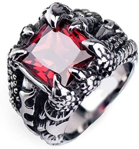 خاتم رجالي من ستينلس ستيل ومزين بالكرستال الاحمر (حجم الخاتم 9)