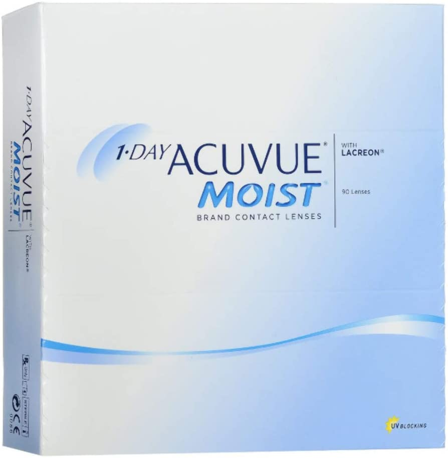 1-Day Acuvue Moist Contact Lens - 90 Pack, Clear, -6