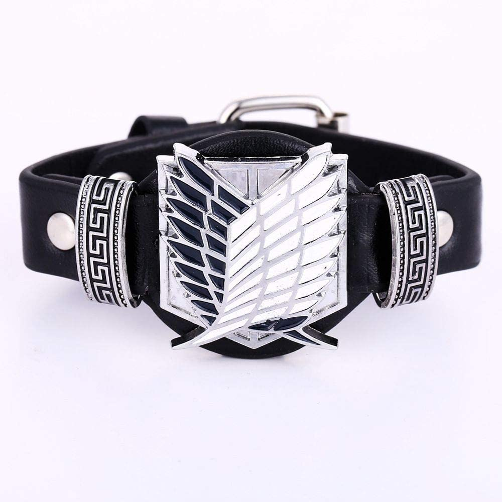 Anime Attack On Titan Silver Alloy Bracelet Scout Regiment Wide Leather Punk Bangle Cosplay Jewelry-ST0791