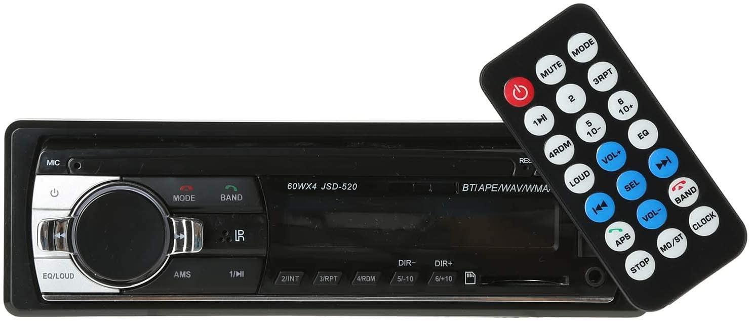 مشغل راديو ستيريو للسيارة بمقاس معياري 1 وجهد 12 فولت مزود بتقنية بلوتوث وريموت كنترول ومدخل ايه يو اكس ويو اس بي ومشغل ام بي 3 وراديو اف ام