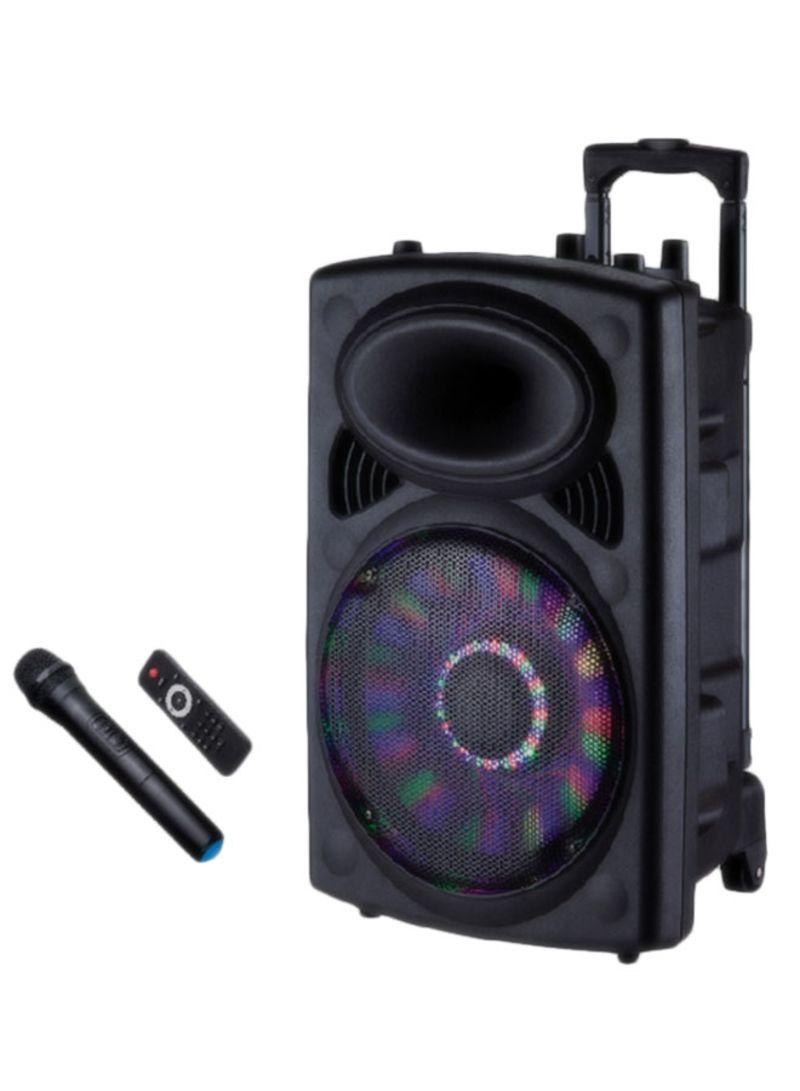 مكبر صوت تروللي محمول قابل للشحن مزود بفتحات لبطاقة USB وSD وراديو FM وبلوتوث GMS8519 أسود
