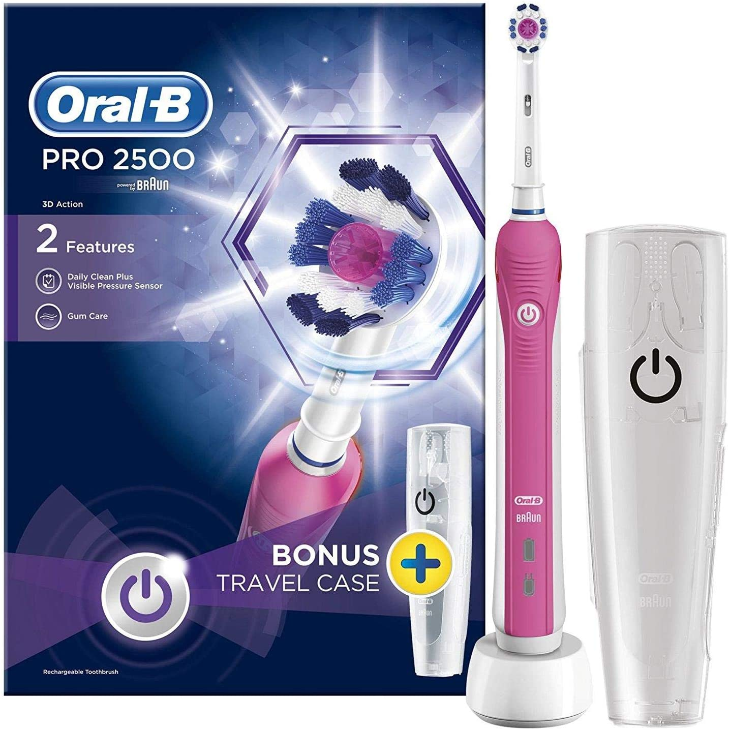 Oral B Pro 2500 3d White Electric Rechargeable Toothbrush With Travel Case Powered By Braun Pink أوفردوز التسوق أونلاين في السعودية Offerdos